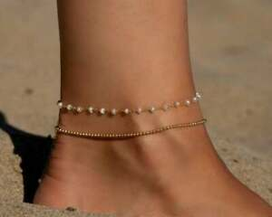 Dainty Gold Freshwater Pearl Gemstone Beaded Anklet 925 Silver Jewelry UG