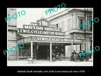 OLD HISTORIC PHOTO OF ADELAIDE SOUTH AUSTRALIA, THE LEWIS MOTORCYCLE STORE c1920