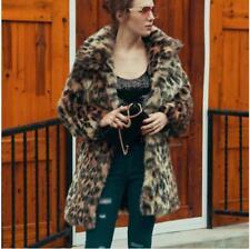 Women Real Fur Coat  Elegant Vintage Leopard Print Fashion Fall Winter Outwear