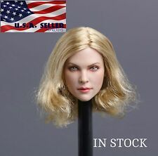 1/6 American European Female Head Blonde Short Hair For Hot Toys Phicen Figure