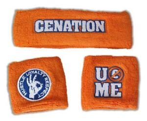JOHN CENA Orange Cenation U Can't See Me Headband Wristbands Set