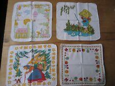 4 alte DDR Kinder Taschentücher Baby,Kinderzimmer-wagen,Vintage,Katze,Sonne,Hexe