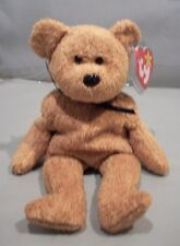 Ty Beanie Babie Collection Fuzz the bear with blue bow tie and Tag Errors