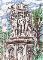 WATER FOUNTAIN IN PGH.PA  Ruth Freeman INK on   PAPER 8 1/4 X 11 3/4