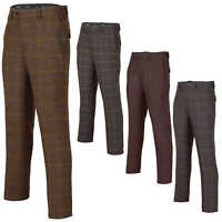 Mens Brown Vintage Tweed Check Trousers Retro Herringbone Classic Peaky Blinders
