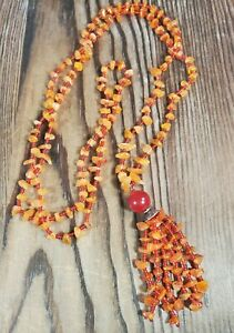 "Beaded Agate Chip Stone Orange Necklace Tassle Pendant Drop 21"" Handmade"