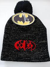 Harley Quinn Batman Logo Lurex Pom DC Comics Slouch Beanie Knit Hat Nwt