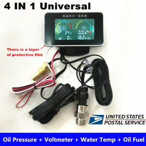 4 IN 1 Digital Oil Pressure Meter / Voltmeter / Water Temp / Fuel Level Gauge US