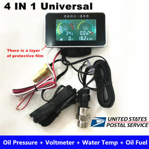4 IN 1 Digital Oil Pressure Meter / Voltmeter / Water Temp / Fuel Level Gauge US