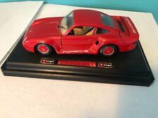 """Miniature Auto Scale 1/24  """"Porsche 959 Turbo"""" Burago Red Car"""