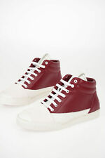 MARNI men Sneakers Sz 44 IT Red White Leather High Top Shoes Red 44 (Shoes (EU))