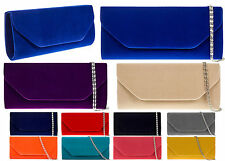 New Ladies Designer Suede velvet Clutch Handbag Bridal Evening Prom party Bag