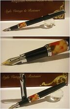 Stilografica Regal British Black Mosaic fountain pen  Stylo Nib two-tone siz Mf