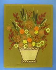 Completed Crewel Embroidery Tapestry Basket of Fall Flowers