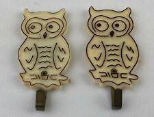 Vintage Retro Refrigerator Fridge Magnet Lot of 2 Owls with Hooks