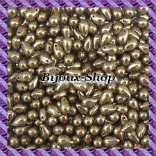 25 Perles de bohème goutte 9 x 6mm coloris Bronze or