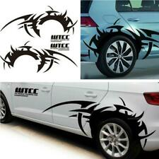 2Pcs Car Side Body Wheel Eyebrow Flame DIY Waterproof Vinyl Decal Sticker Black