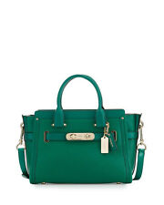 NWT COACH 34816 SWAGGER 27 GREEN PEBBLED LEATHER SATCHEL CROSSBODY BAG