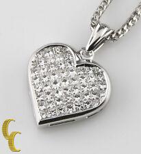 18ct Oro Blanco Colgante de corazón diamante con / 14k cadena Franco Patron = Ct