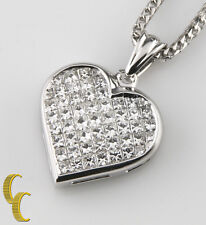 18k White Gold Diamond Heart Pendant w/ 14k white gold Franco Chain TDW = 6 ct