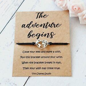 The Adventure Begins Wish Bracelet BFF Best Friend Gift Going Away Travel Gift