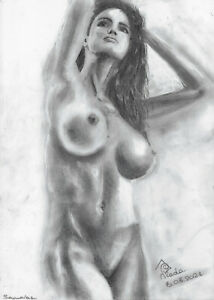 original drawing A3 167PV art samovar modern Graphite female nude Signed 2021