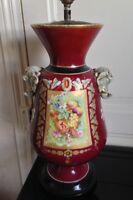 Belle lampe porcelaine de Paris XIXéme décor fleurs têtes d'éléphant