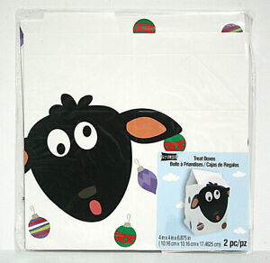 """Studio18 Christmas Treat Gift Boxes 2 Pack Sheep Ornaments Pop-Up 4""""x4""""x6"""""""