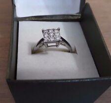 9ct White Gold Third Carat 0.33 Diamond Cluster Ring - Engagement Valentines