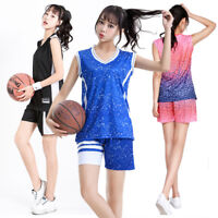 New 2pcs Women girls Basketball set vest shorts Train loose Sports Casual Outfit