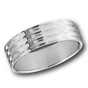 MENS STAINLESS STEEL POLISHED 8mm WIDE BAND RING THUMB FINGER WEDDING