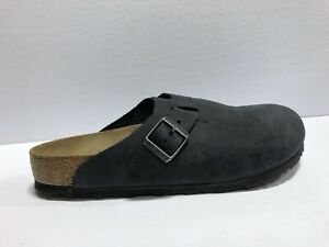 Birkenstock Boston Clog Flat Black Leather Womens Size 11 M EUR42