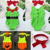 Newborn Baby Girls Romper Christmas Costume Back Button Jumpsuit Headband Outfit