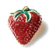 BROOCH beautiful juicy red strawberry large gold tone red rhinestones green enam