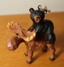 Black Bear Cub Riding Moose Christmas Ornament Figurine Cabin Lodge Home Decor