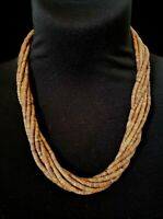 "Vtg Multi Strand Twisted Brown Wood Seed Bead Matinee Necklace 23"" Barrel Clasp"