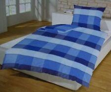 Schlafwohl Microfaser Bettwäsche Set 4 teilig 135 x 200 cm blau kariert