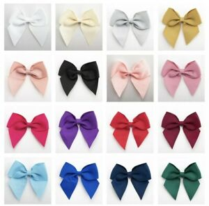 10cm Large Grosgrain Bows 6 Pack - Self Adhesive Pre Tied 38mm Ribbon Bow Craft
