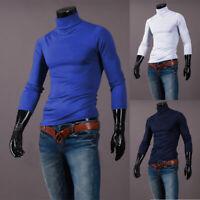 US Men Long Sleeve Pullover High Neck Turtleneck Stretch Slim Basic T Shirt Top