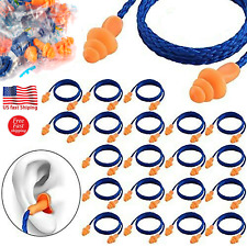 Lot Soft Silicone Corded Ear Plugs Reusable Hearing Protection Rubber Earplugs