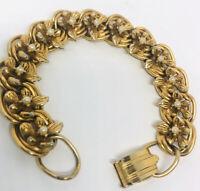 Beautiful FLORENZA Gold Tone Flower Link Bracelet Signed Vintage Jewelry