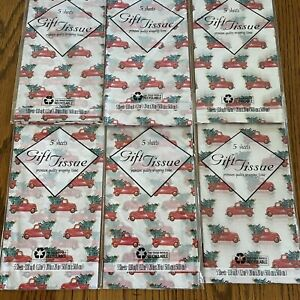 6pk (5-sheets each pk) Christmas Tissue Paper Classic Red Truck w/Tree 30sheets