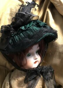 Artisan Bottle Green Hat For Antique or Reproduction Bisque Doll