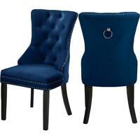 """Meridian Furniture Nikki 19.5""""H Velvet Dining Chair in Navy (Set of 2)"""