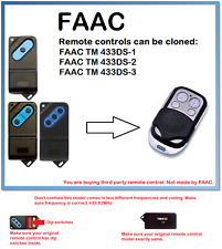 FAAC TM 433DS-1, 2, 3 Universal Remote Control Duplicator 4-Channel 433.92MHz.