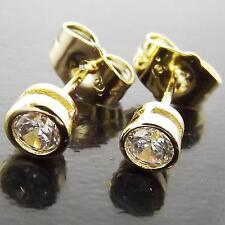 FS962 GENUINE REAL 18K YELLOW G/F GOLD SOLID DIAMOND SIMULATED STUD EARRINGS