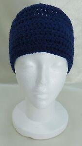 Handmade  Ski Knit Winter Headband Ear warmer - Dark Blue  Polyester