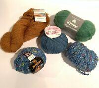 Yarn Lot of 5 Skeins Lionbrand Kathmandu Patons, Merino Wool Alpaca Aran Wool