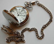 "Men's Pocket Watch with Silver tone 14"" chain & clip + FREE Battery. UK Seller"