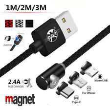UGI 1~3m 360° Elbow Magnetic LED Micro USB Typc-C 2A Fast Charging Cable IOS Lot